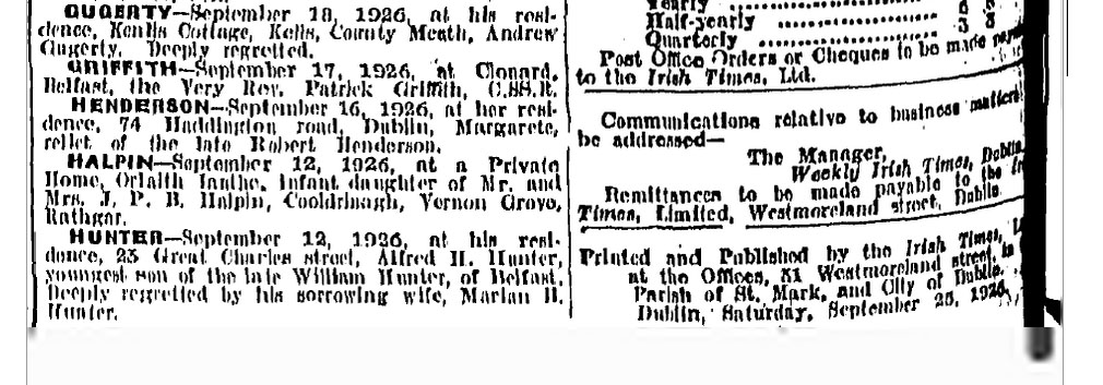 Alfred Henry Hunter death Weekly Irish Times Sept 25 1926