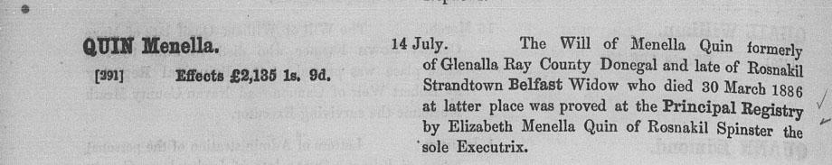 Will Calender Menella Quin 1886