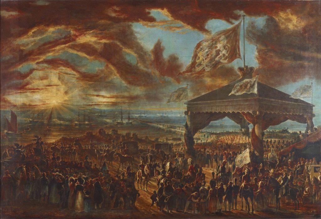william-turner-de-lond-fl-c-1820-c-1837-george-iv-leaving-ireland-embarking-at-kingstown-3-september-1821